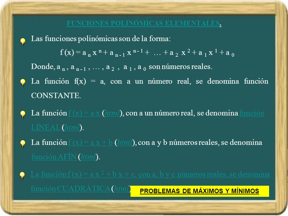 FUNCIONES POLINÓMICAS ELEMENTALES.
