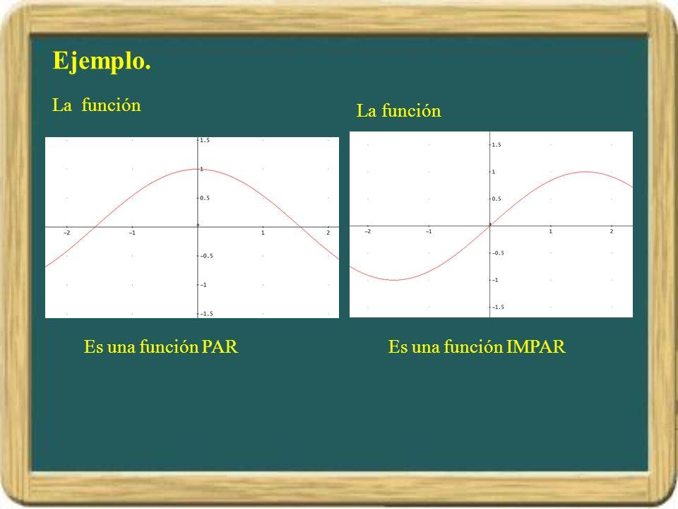 Ejemplo. La función La función Es una función PAR Es una función IMPAR
