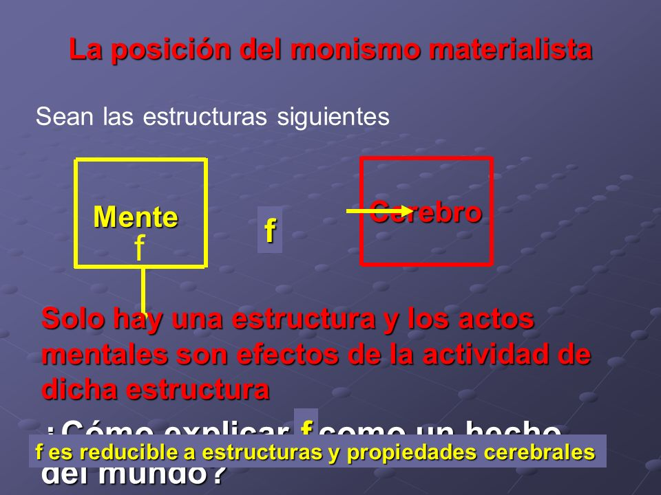 La posición del monismo materialista