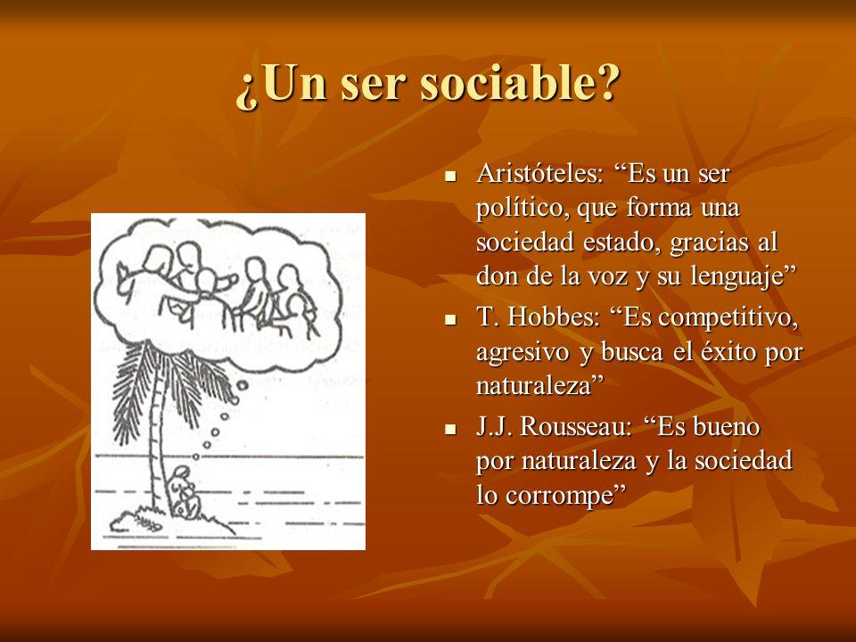 ¿Un ser sociable Aristóteles: Es un ser político, que forma una sociedad estado, gracias al don de la voz y su lenguaje