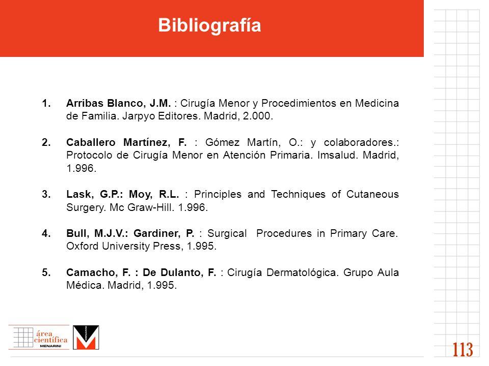 Bibliografía Arribas Blanco, J.M. : Cirugía Menor y Procedimientos en Medicina de Familia. Jarpyo Editores. Madrid, 2.000.