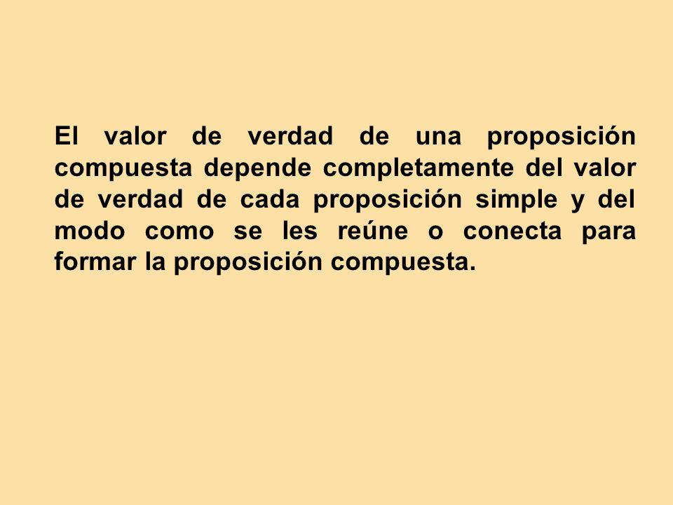 El valor de verdad de una proposición compuesta depende completamente del valor de verdad de cada proposición simple y del modo como se les reúne o conecta para formar la proposición compuesta.