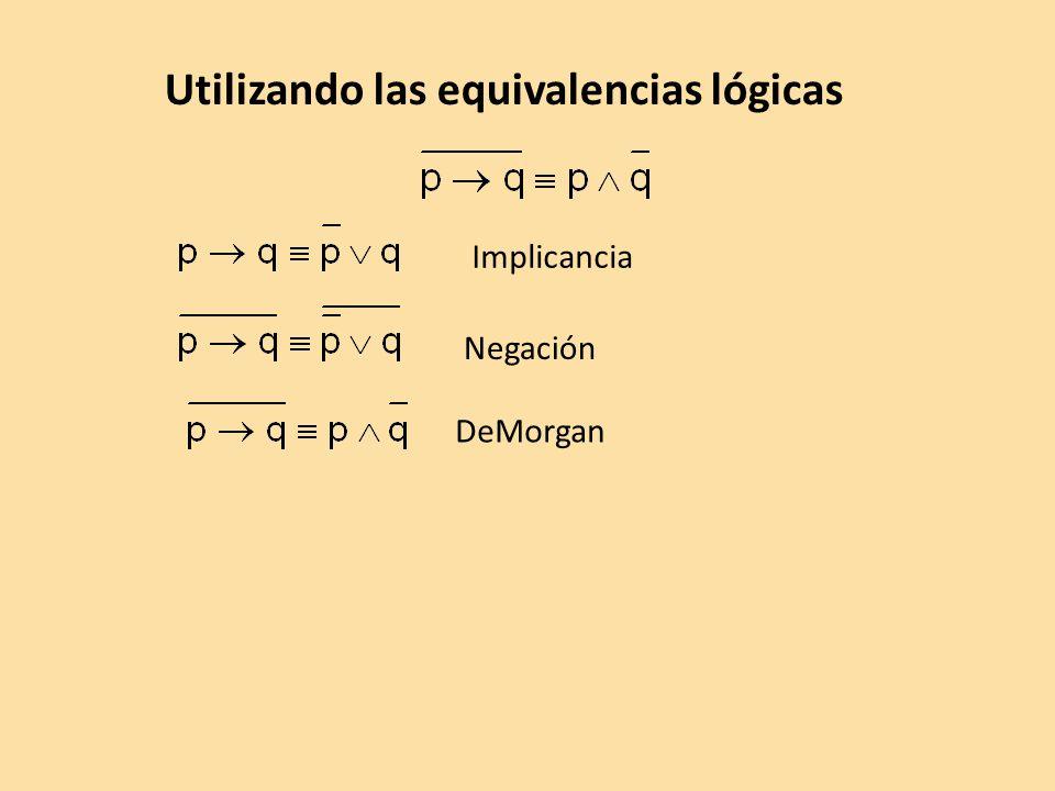 Utilizando las equivalencias lógicas
