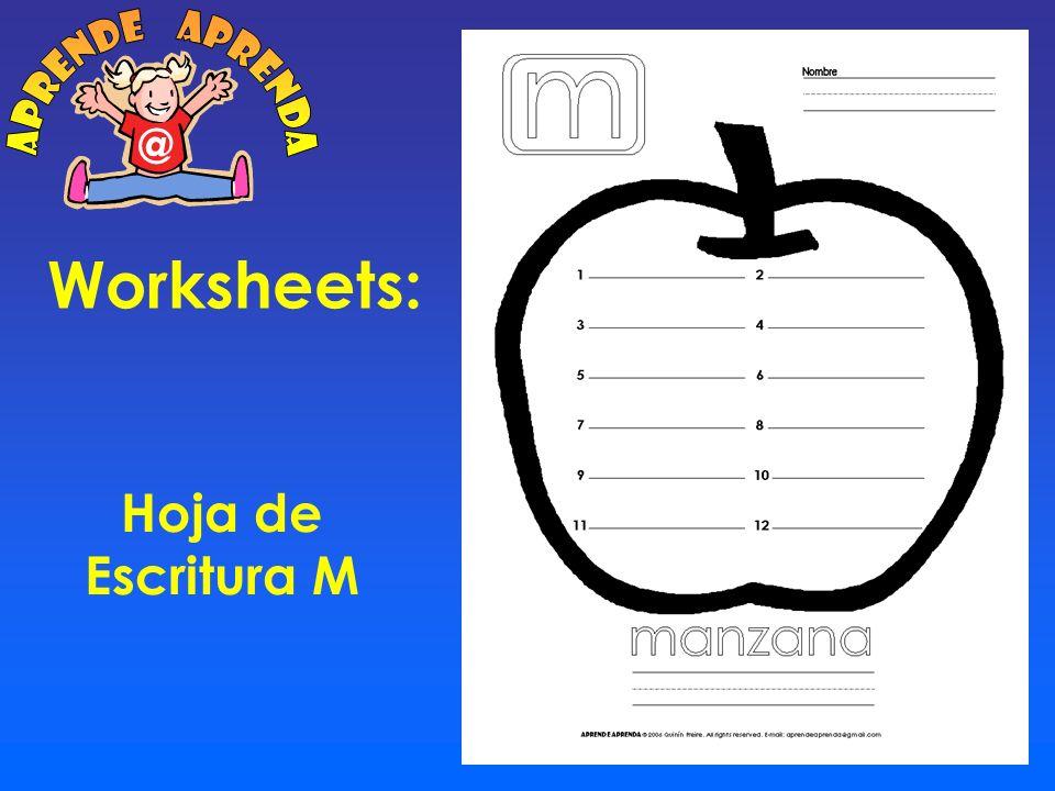 aprende aprenda @ Worksheets: Hoja de Escritura M