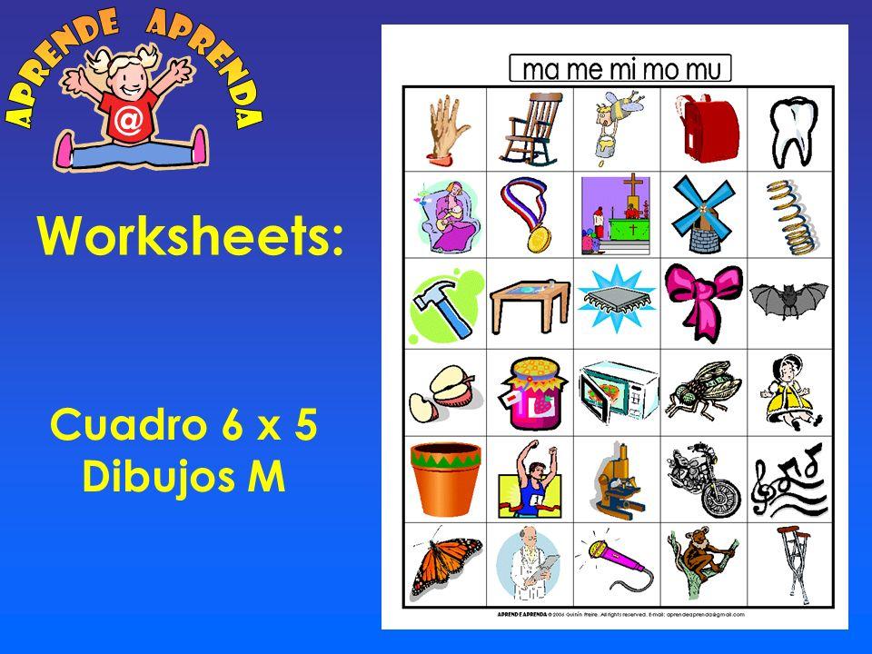 aprende aprenda @ Worksheets: Cuadro 6 x 5 Dibujos M