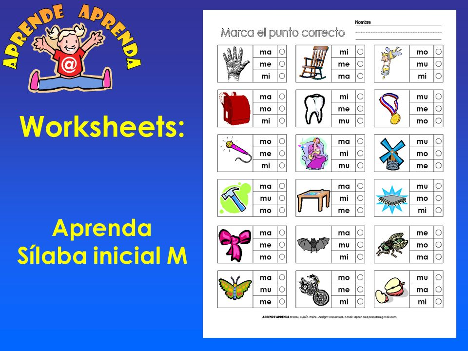 aprende aprenda @ Worksheets: Aprenda Sílaba inicial M
