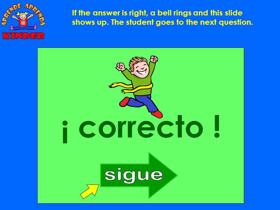 If the answer is right, a bell rings and this slide shows up