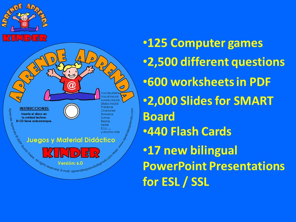 125 Computer games 2,500 different questions. 600 worksheets in PDF. 2,000 Slides for SMART Board.