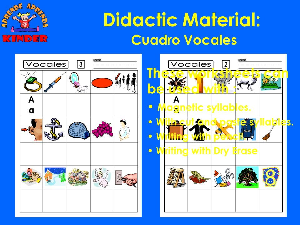 Didactic Material: Cuadro Vocales These worksheets can be used with :