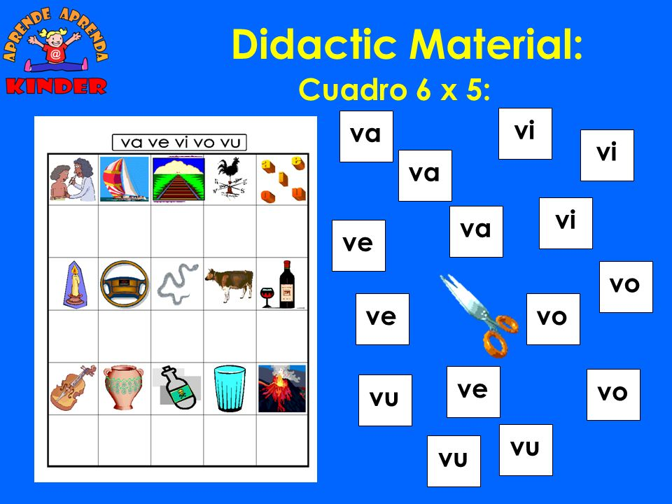 Didactic Material: Cuadro 6 x 5: va vi vi va vi va ve vo ve vo ve vo