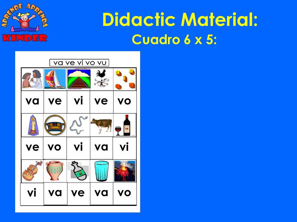 Didactic Material: Cuadro 6 x 5: va ve vi ve vo ve vo vi va vi vi va
