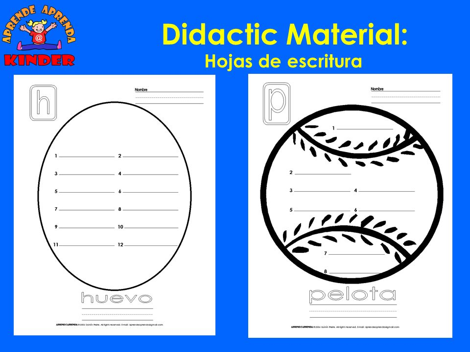 Didactic Material: Hojas de escritura