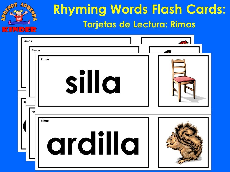 Rhyming Words Flash Cards: Tarjetas de Lectura: Rimas