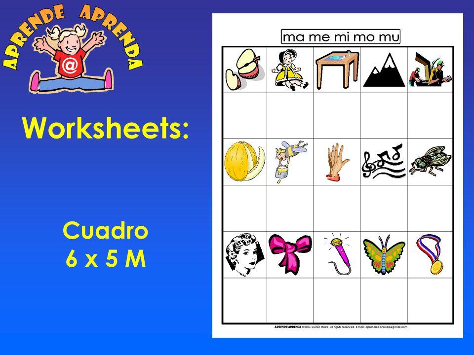 aprende aprenda @ Worksheets: Cuadro 6 x 5 M