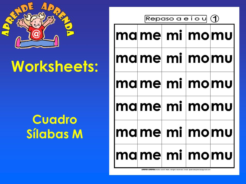 aprende aprenda @ Worksheets: Cuadro Sílabas M