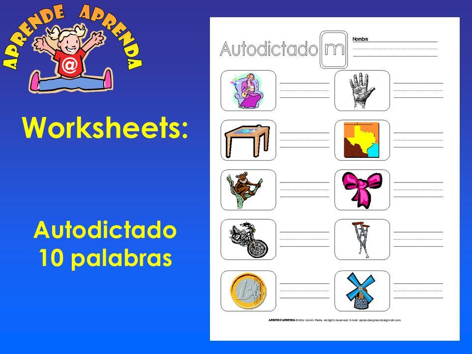 aprende aprenda @ Worksheets: Autodictado 10 palabras