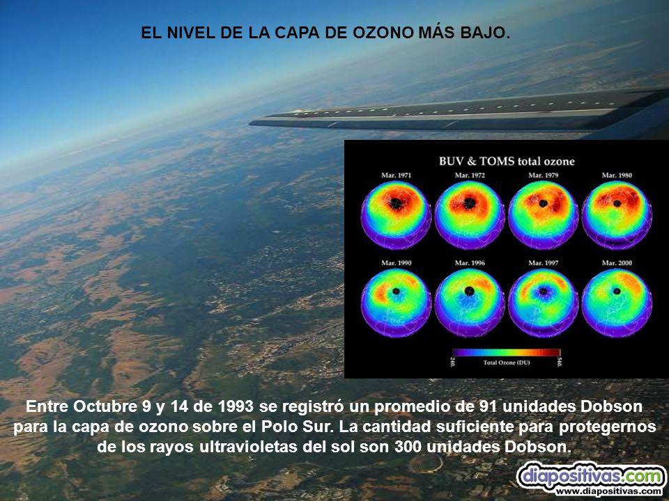EL NIVEL DE LA CAPA DE OZONO MÁS BAJO.