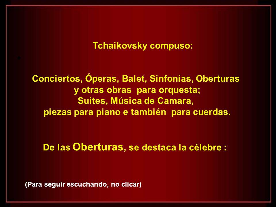 Conciertos, Óperas, Balet, Sinfonías, Oberturas