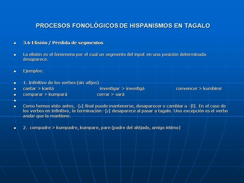 Procesos FONOLÓGICOS DE HISPANISMOS EN TAGALO