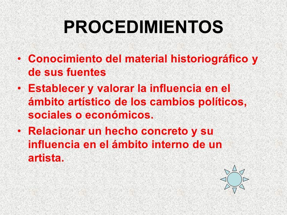 PROCEDIMIENTOS Conocimiento del material historiográfico y de sus fuentes.