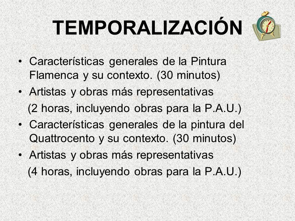 TEMPORALIZACIÓN Características generales de la Pintura Flamenca y su contexto. (30 minutos) Artistas y obras más representativas.