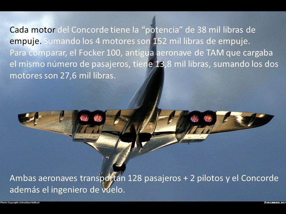 Cada motor del Concorde tiene la potencia de 38 mil libras de