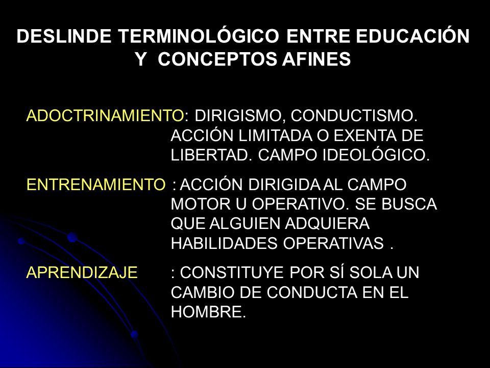 DESLINDE TERMINOLÓGICO ENTRE EDUCACIÓN Y CONCEPTOS AFINES