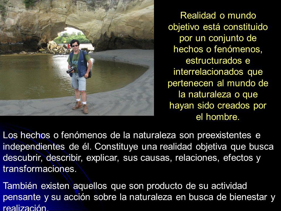 Realidad o mundo objetivo está constituido por un conjunto de hechos o fenómenos, estructurados e interrelacionados que pertenecen al mundo de la naturaleza o que hayan sido creados por el hombre.