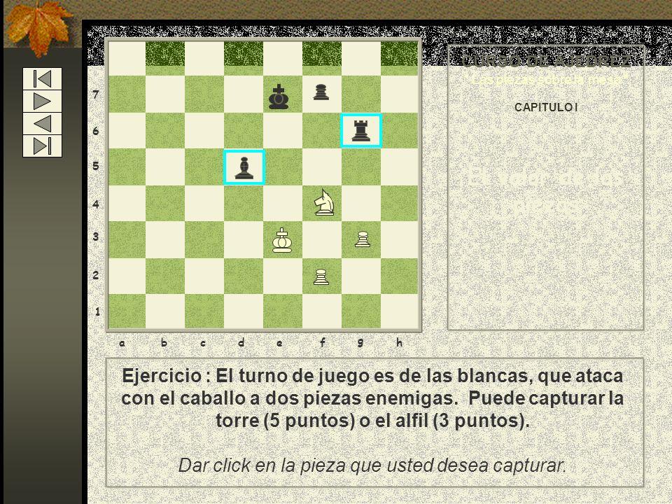 87. 6. 5. 4. 3. 2. 1. CURSO DE AJEDREZ. Las piezas sobre la mesa CAPITULO I. El valor de las piezas.