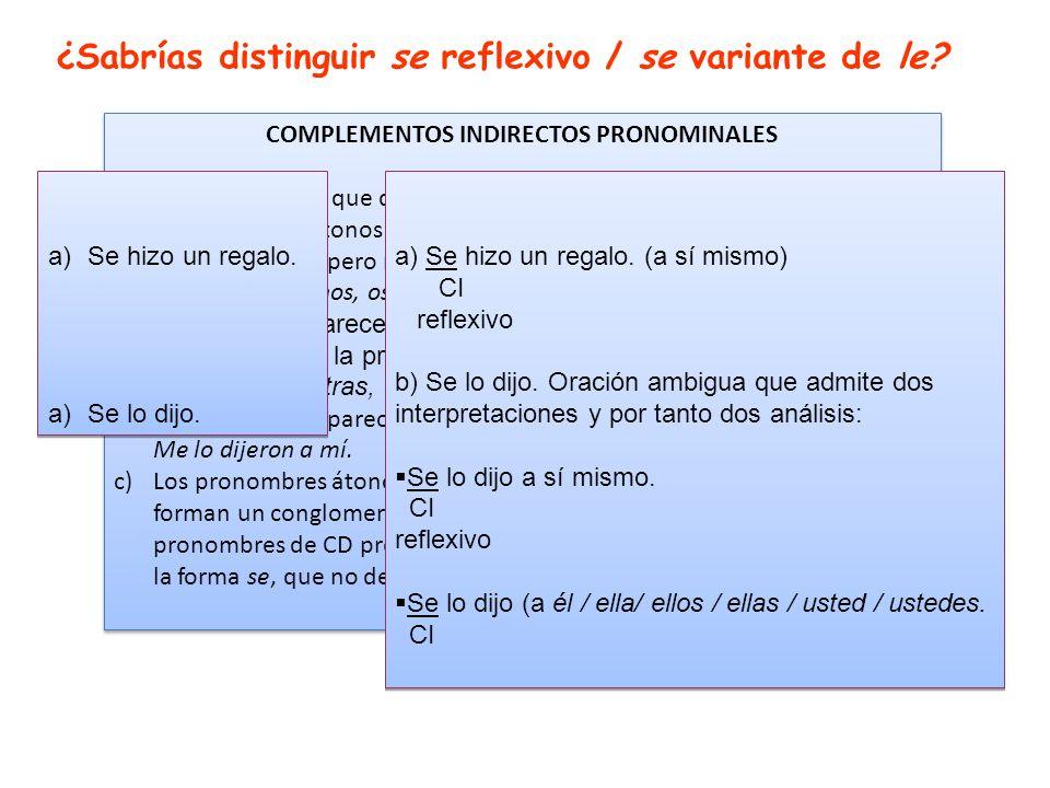 COMPLEMENTOS INDIRECTOS PRONOMINALES