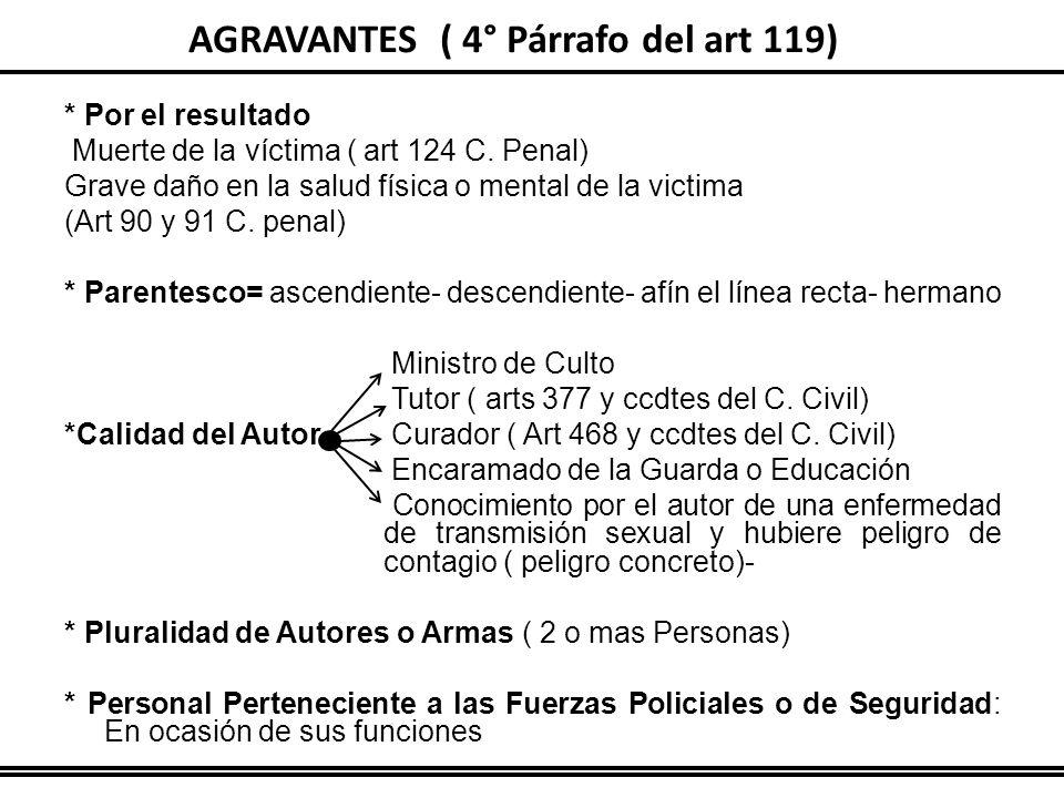 AGRAVANTES ( 4° Párrafo del art 119)