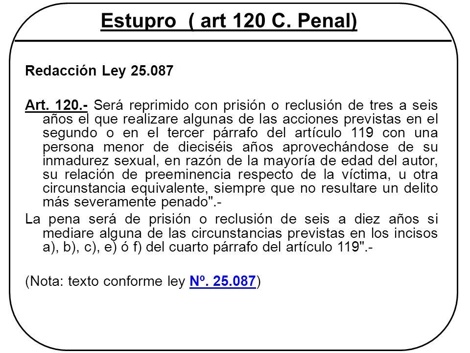 Estupro ( art 120 C. Penal) Redacción Ley 25.087