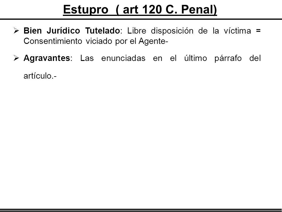 Estupro ( art 120 C. Penal) Bien Jurídico Tutelado: Libre disposición de la víctima = Consentimiento viciado por el Agente-