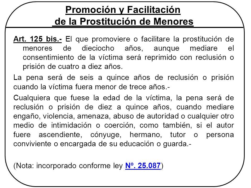 Promoción y Facilitación de la Prostitución de Menores