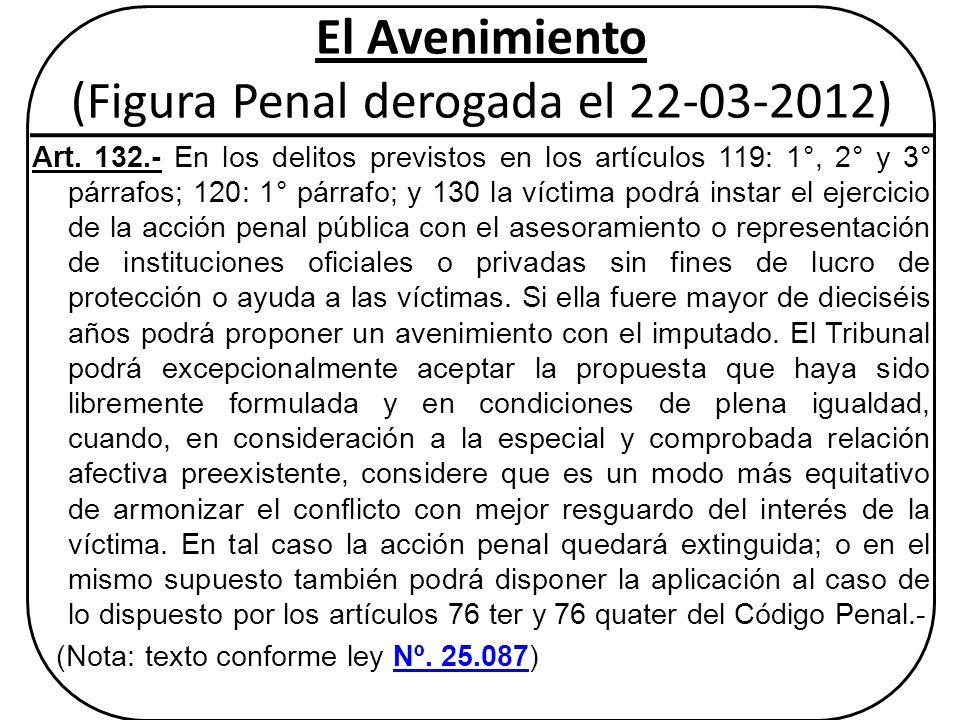 El Avenimiento (Figura Penal derogada el 22-03-2012)