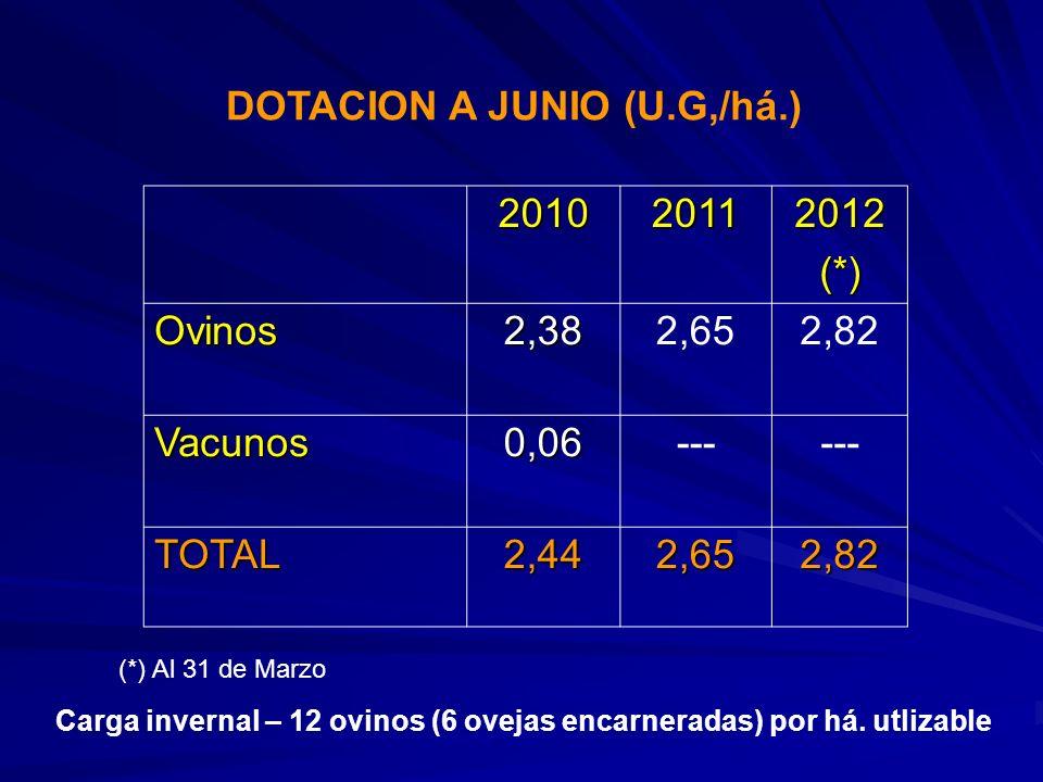 DOTACION A JUNIO (U.G,/há.) 2010 2011 2012 (*) Ovinos 2,38 2,65 2,82