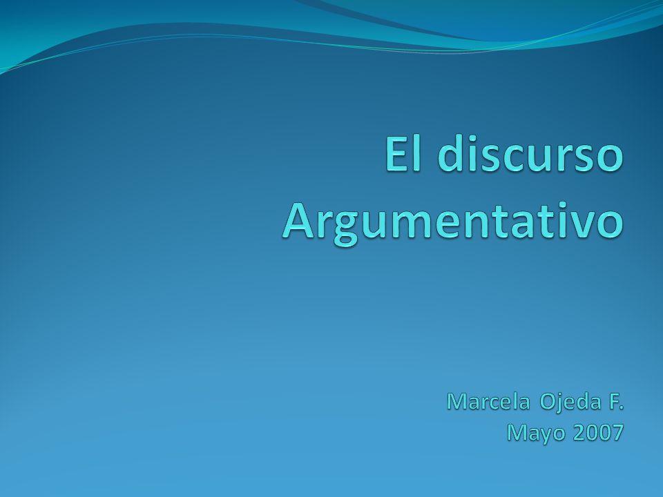 El discurso Argumentativo Marcela Ojeda F. Mayo 2007