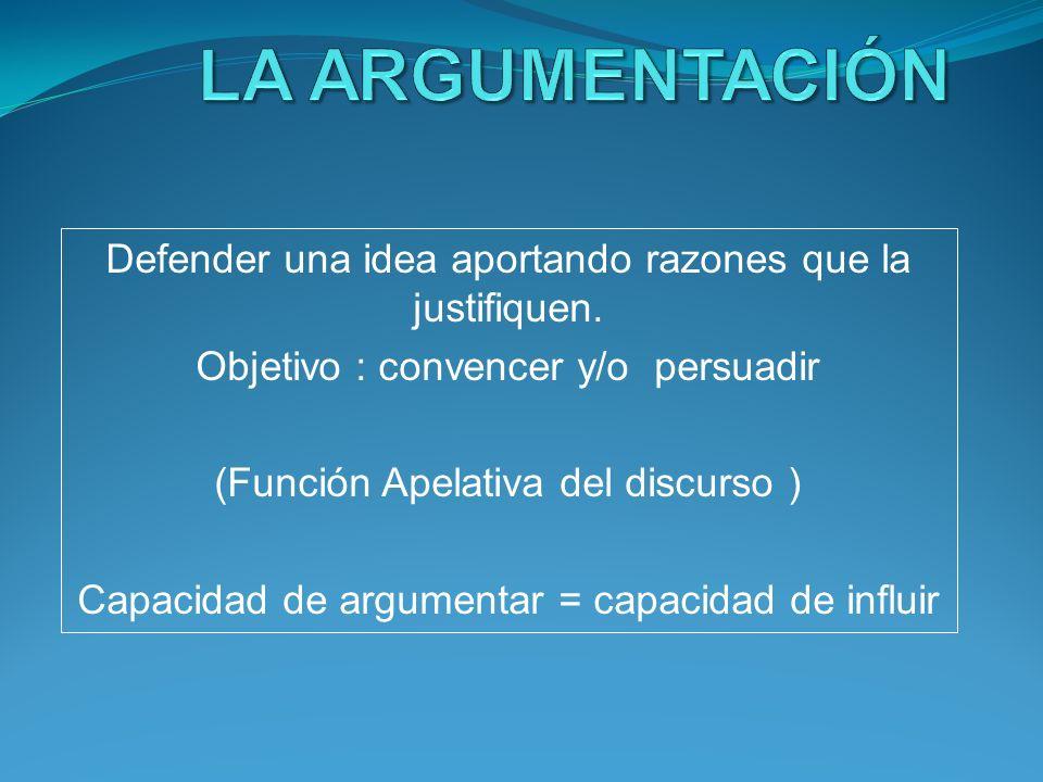 LA ARGUMENTACIÓN Defender una idea aportando razones que la justifiquen. Objetivo : convencer y/o persuadir.