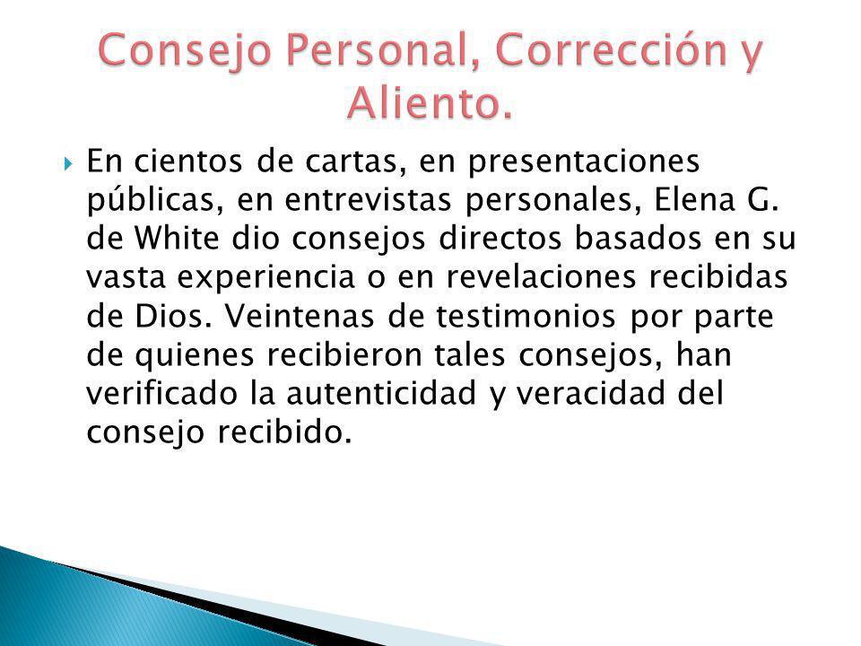 Consejo Personal, Corrección y Aliento.