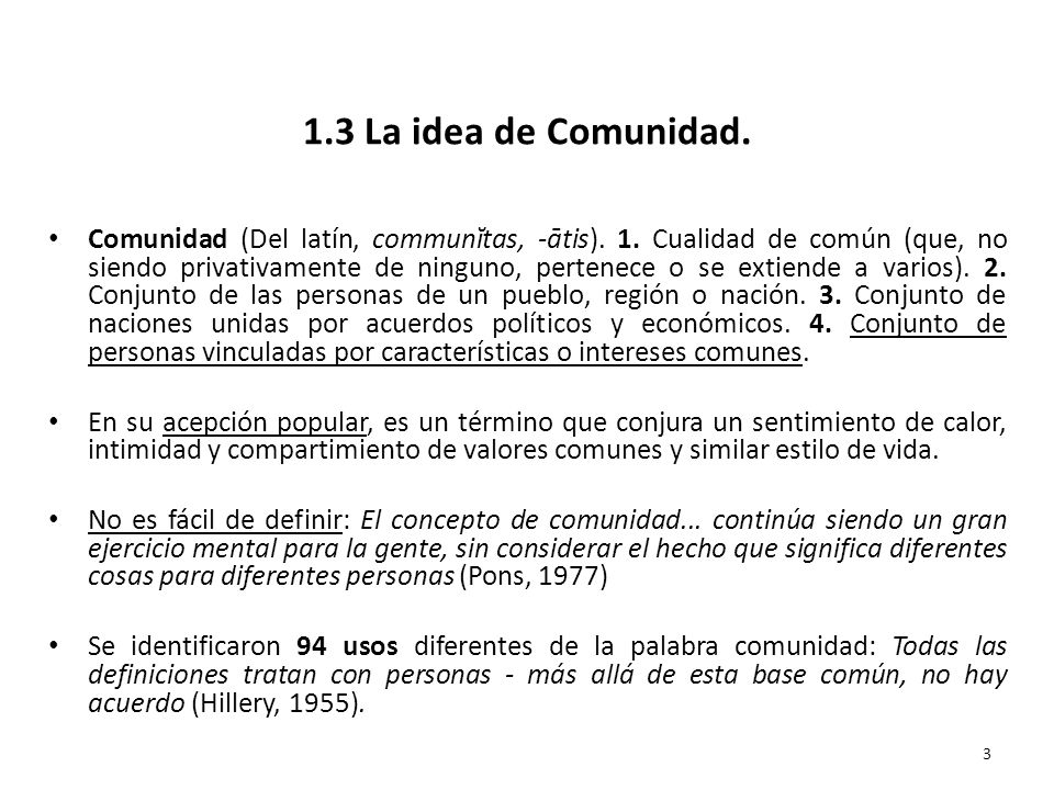 1.3 La idea de Comunidad.