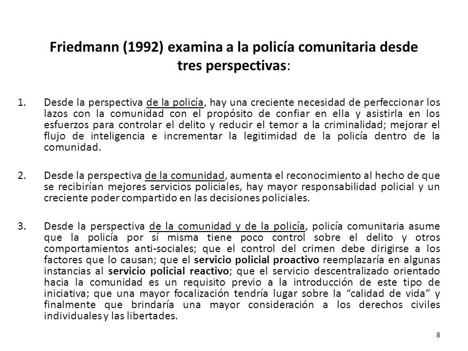 Friedmann (1992) examina a la policía comunitaria desde tres perspectivas: