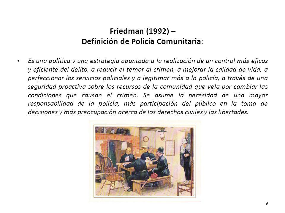 Friedman (1992) – Definición de Policía Comunitaria: