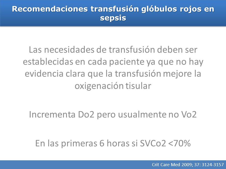 Recomendaciones transfusión glóbulos rojos en sepsis