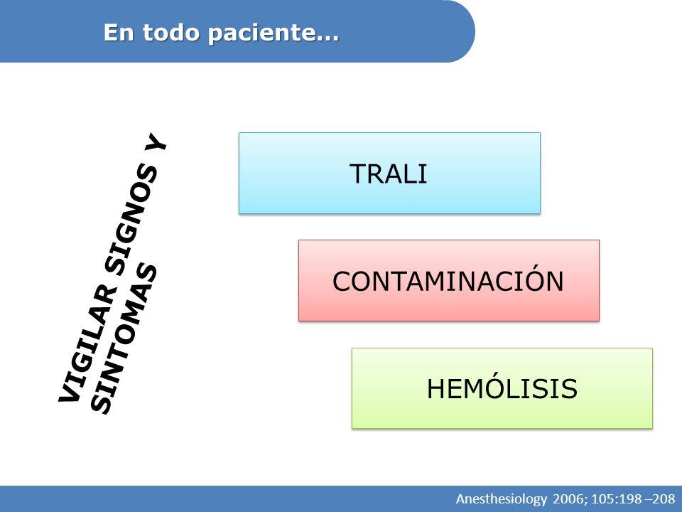 TRALI VIGILAR SIGNOS Y SINTOMAS CONTAMINACIÓN HEMÓLISIS