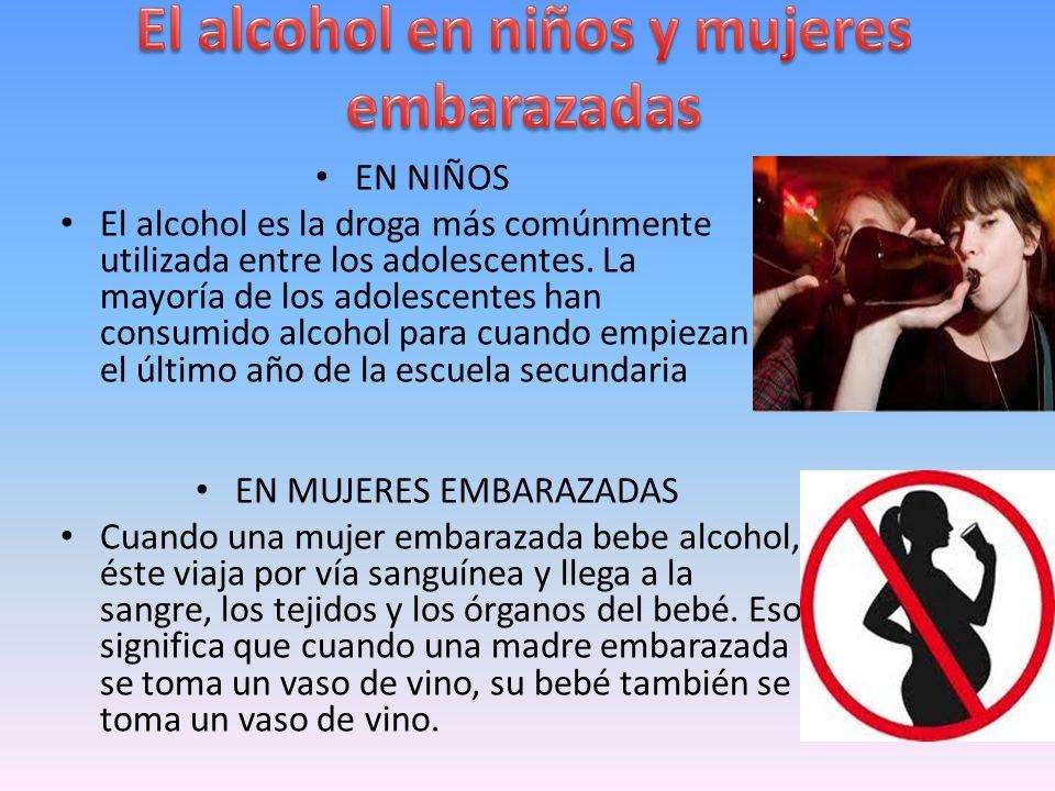 El alcohol en niños y mujeres embarazadas
