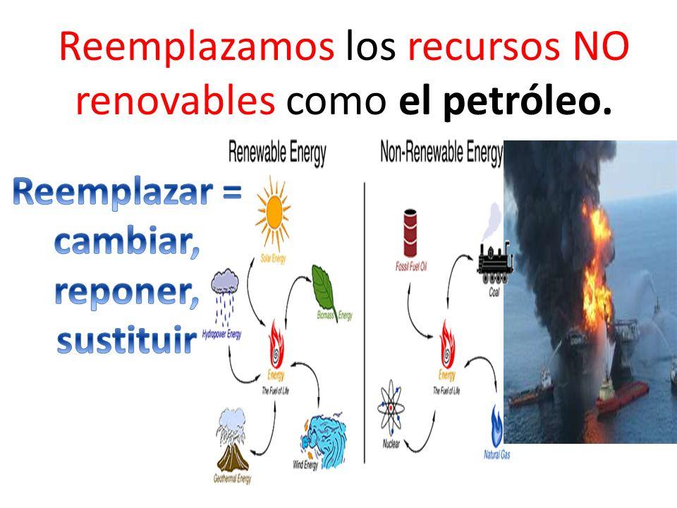 Reemplazamos los recursos NO renovables como el petróleo.