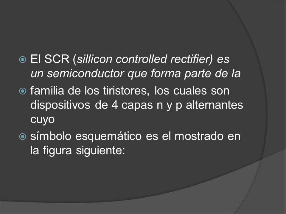 El SCR (sillicon controlled rectifier) es un semiconductor que forma parte de la