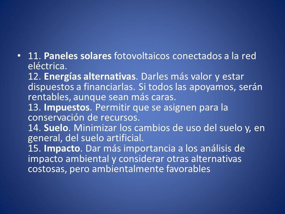 11. Paneles solares fotovoltaicos conectados a la red eléctrica. 12