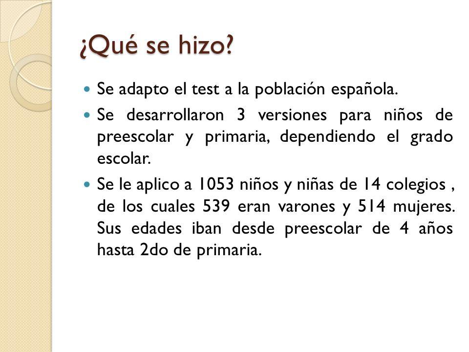 ¿Qué se hizo Se adapto el test a la población española.
