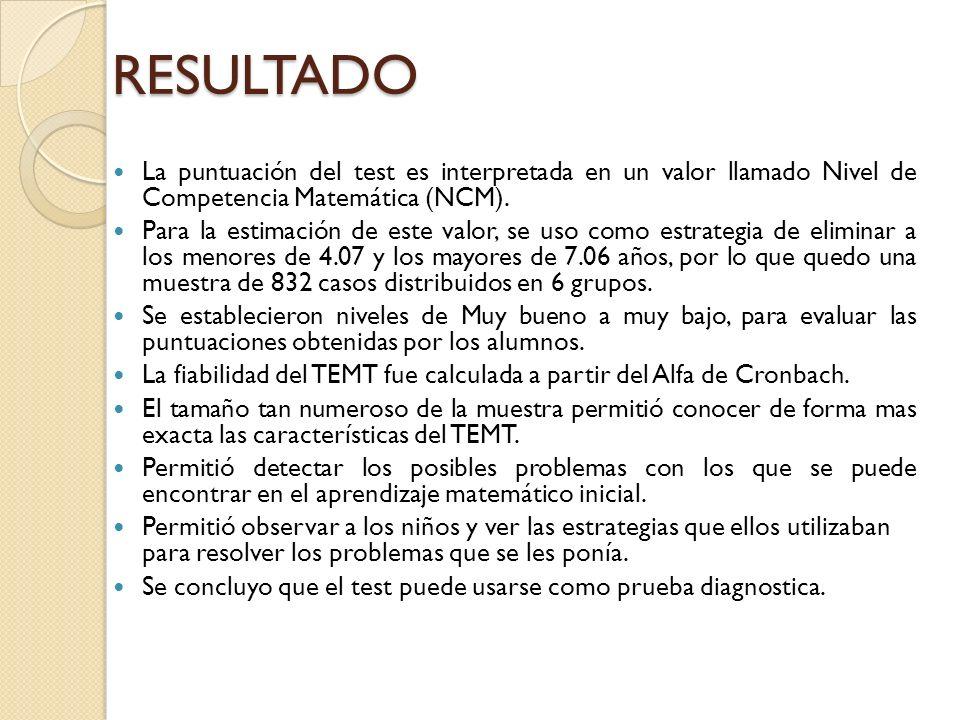 RESULTADO La puntuación del test es interpretada en un valor llamado Nivel de Competencia Matemática (NCM).